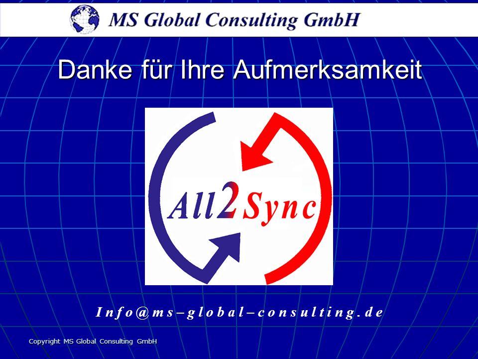 Copyright MS Global Consulting GmbH I n f o @ m s – g l o b a l – c o n s u l t i n g. d e Danke für Ihre Aufmerksamkeit