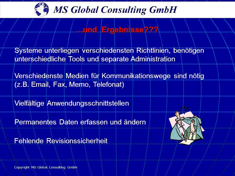 Copyright MS Global Consulting GmbH...und Ergebnisse??? Vielfältige Anwendungsschnittstellen Fehlende Revisionssicherheit Systeme unterliegen verschie