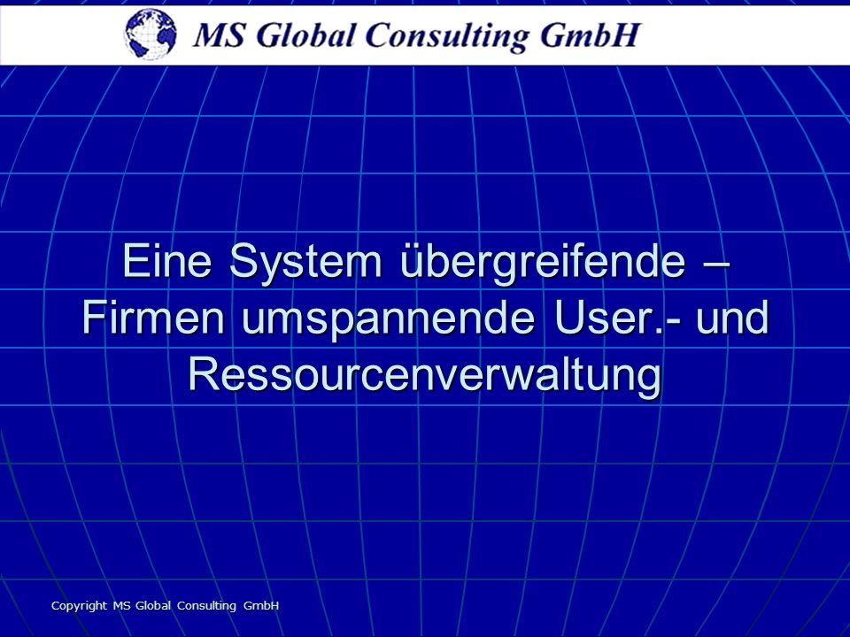 Copyright MS Global Consulting GmbH Eine System übergreifende – Firmen umspannende User.- und Ressourcenverwaltung
