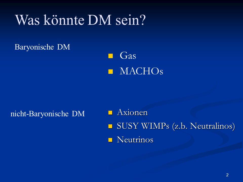 2 Axionen Axionen SUSY WIMPs (z.b. Neutralinos) SUSY WIMPs (z.b. Neutralinos) Neutrinos Neutrinos Was könnte DM sein? nicht-Baryonische DM Baryonische