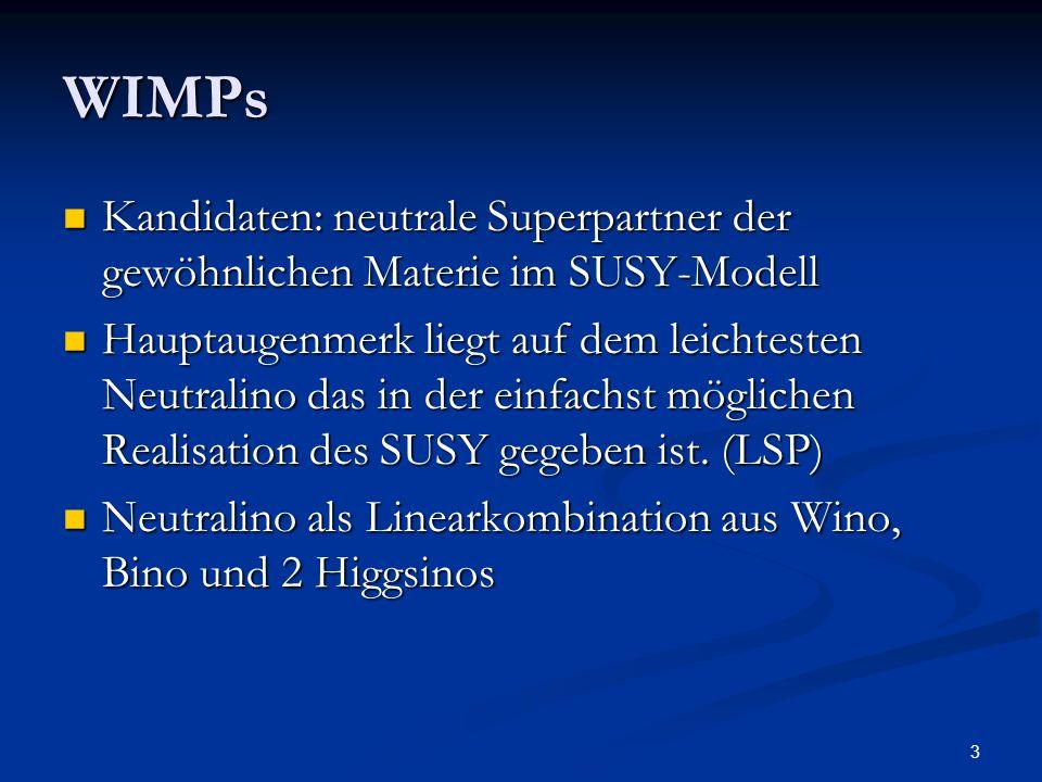 3 WIMPs Kandidaten: neutrale Superpartner der gewöhnlichen Materie im SUSY-Modell Kandidaten: neutrale Superpartner der gewöhnlichen Materie im SUSY-M