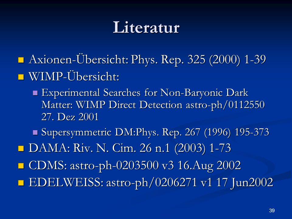 39 Literatur Axionen-Übersicht: Phys. Rep. 325 (2000) 1-39 Axionen-Übersicht: Phys. Rep. 325 (2000) 1-39 WIMP-Übersicht: WIMP-Übersicht: Experimental