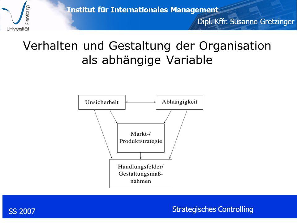 Institut für Internationales Management Dipl. Kffr. Susanne Gretzinger SS 2007 Strategisches Controlling Verhalten und Gestaltung der Organisation als