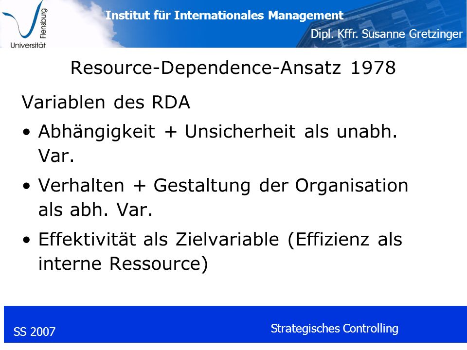 Institut für Internationales Management Dipl. Kffr. Susanne Gretzinger SS 2007 Strategisches Controlling Resource-Dependence-Ansatz 1978 Variablen des