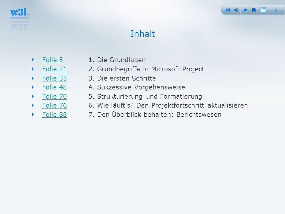 3 Folie 5Folie 51. Die Grundlagen Folie 21Folie 212. Grundbegriffe in Microsoft Project Folie 35Folie 353. Die ersten Schritte Folie 48Folie 484. Sukz