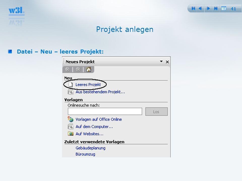 41 Projekt anlegen Datei – Neu – leeres Projekt: