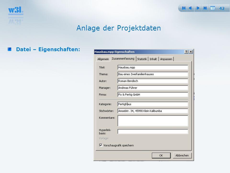 42 Anlage der Projektdaten Datei – Eigenschaften: