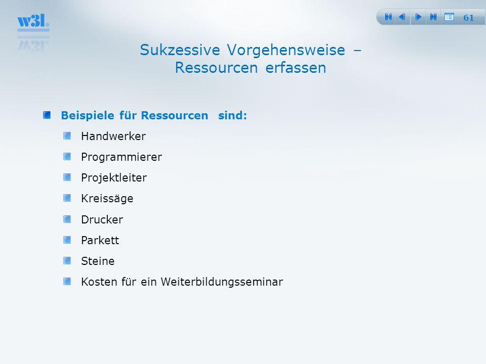61 Sukzessive Vorgehensweise – Ressourcen erfassen Beispiele für Ressourcen sind: Handwerker Programmierer Projektleiter Kreissäge Drucker Parkett Ste