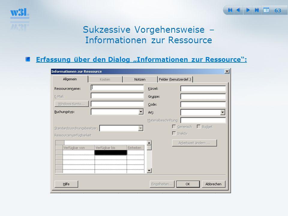 63 Sukzessive Vorgehensweise – Informationen zur Ressource Erfassung über den Dialog Informationen zur Ressource: