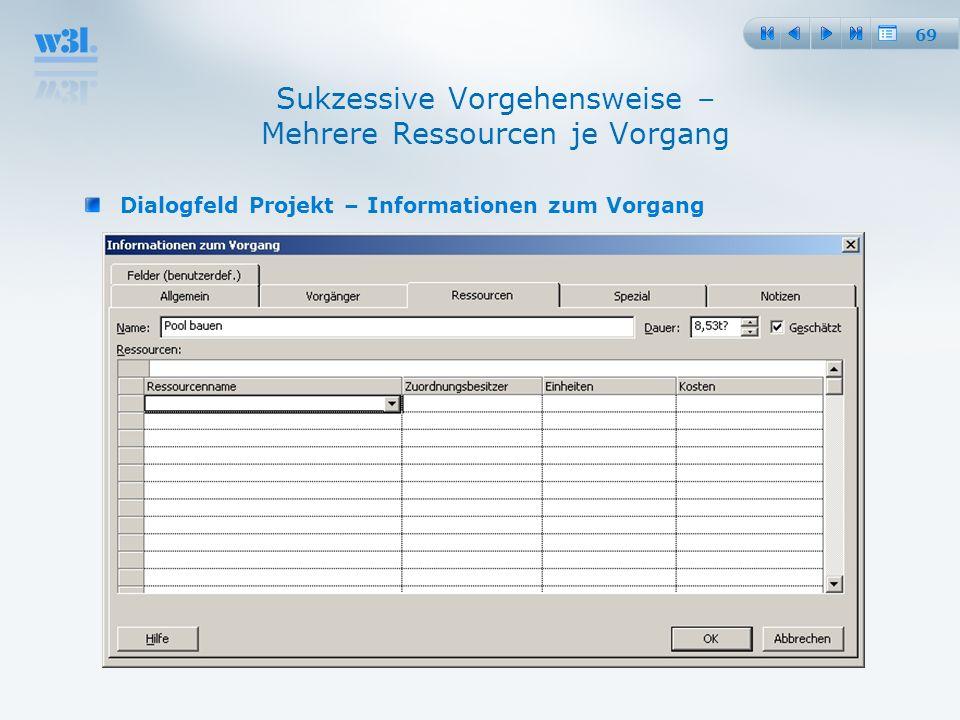 69 Sukzessive Vorgehensweise – Mehrere Ressourcen je Vorgang Dialogfeld Projekt – Informationen zum Vorgang