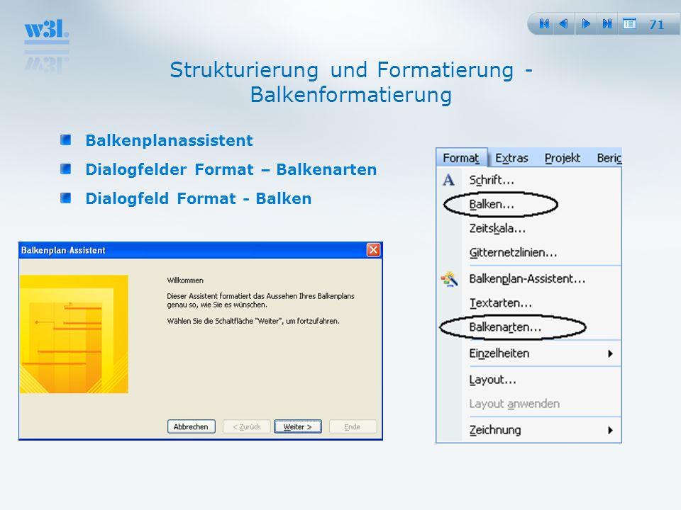 71 Strukturierung und Formatierung - Balkenformatierung Balkenplanassistent Dialogfelder Format – Balkenarten Dialogfeld Format - Balken