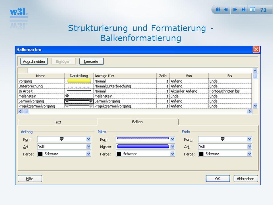 72 Strukturierung und Formatierung - Balkenformatierung