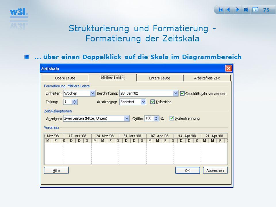75 Strukturierung und Formatierung - Formatierung der Zeitskala... über einen Doppelklick auf die Skala im Diagrammbereich