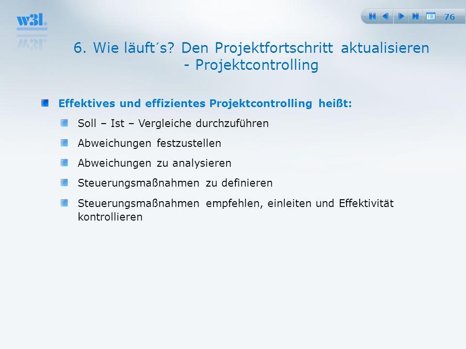 76 6. Wie läuft´s? Den Projektfortschritt aktualisieren - Projektcontrolling Effektives und effizientes Projektcontrolling heißt: Soll – Ist – Verglei