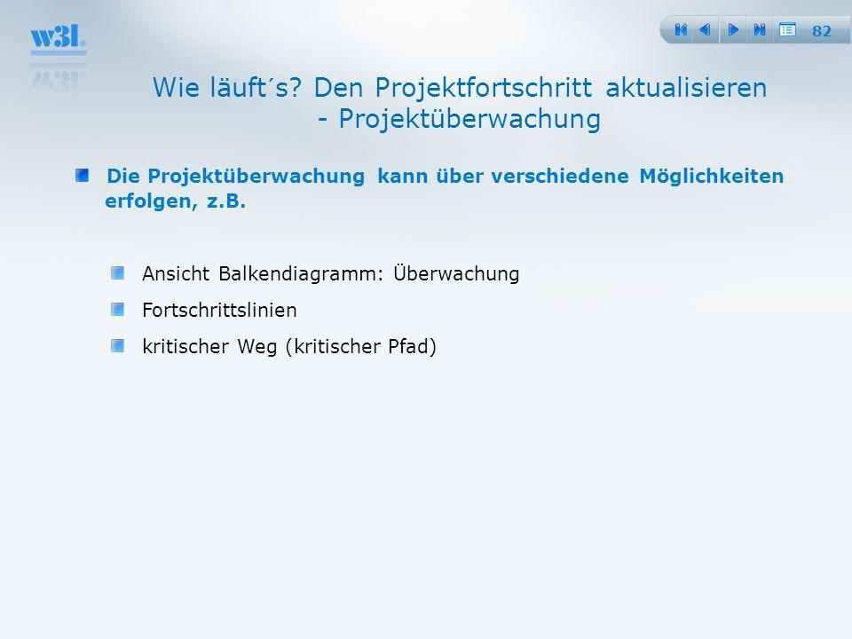 82 Die Projektüberwachung kann über verschiedene Möglichkeiten erfolgen, z.B. Ansicht Balkendiagramm: Überwachung Fortschrittslinien kritischer Weg (k
