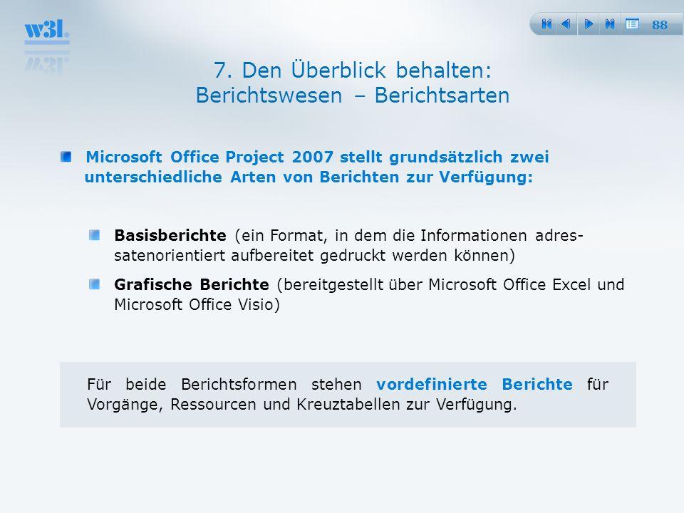 88 7. Den Überblick behalten: Berichtswesen – Berichtsarten Microsoft Office Project 2007 stellt grundsätzlich zwei unterschiedliche Arten von Bericht