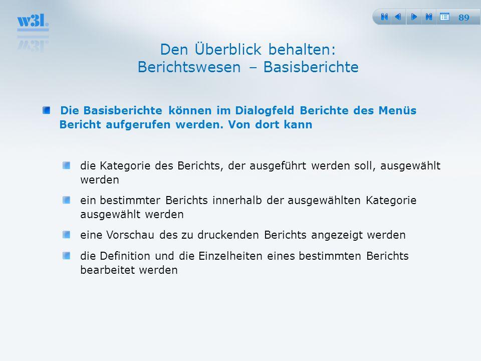 89 Den Überblick behalten: Berichtswesen – Basisberichte Die Basisberichte können im Dialogfeld Berichte des Menüs Bericht aufgerufen werden. Von dort