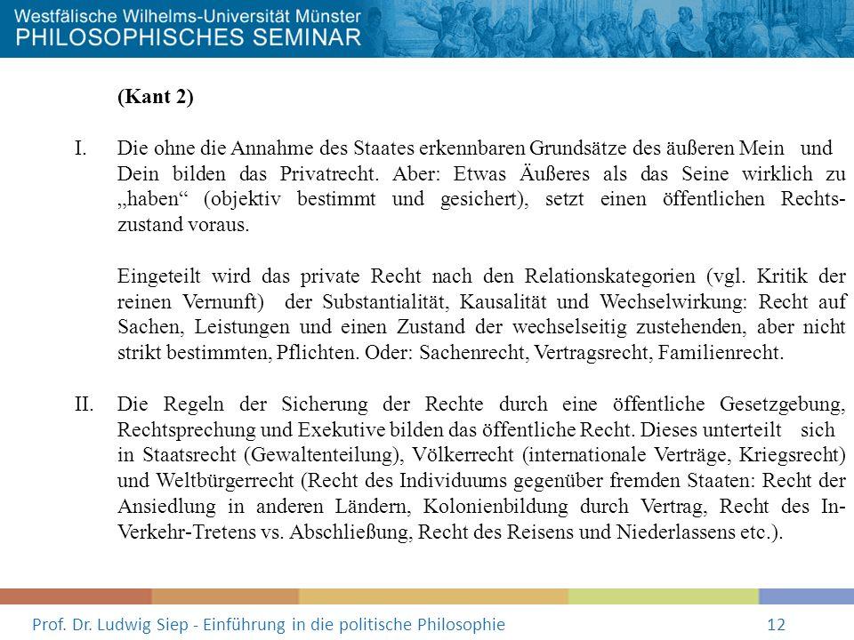 Prof. Dr. Ludwig Siep - Einführung in die politische Philosophie12 (Kant 2) I. Die ohne die Annahme des Staates erkennbaren Grundsätze des äußeren Mei