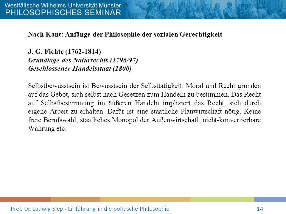 Prof. Dr. Ludwig Siep - Einführung in die politische Philosophie14 Nach Kant: Anfänge der Philosophie der sozialen Gerechtigkeit J. G. Fichte (1762-18