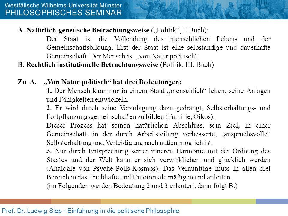 Prof. Dr. Ludwig Siep - Einführung in die politische Philosophie A. Natürlich-genetische Betrachtungsweise (Politik, I. Buch): Der Staat ist die Volle