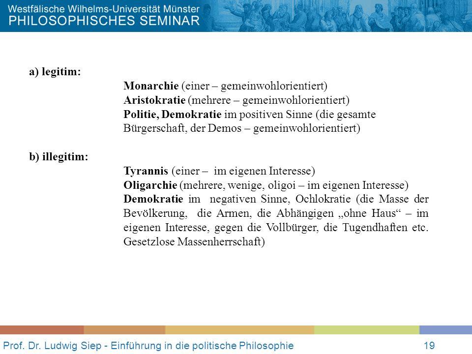 Prof. Dr. Ludwig Siep - Einführung in die politische Philosophie19 a) legitim: Monarchie (einer – gemeinwohlorientiert) Aristokratie (mehrere – gemein