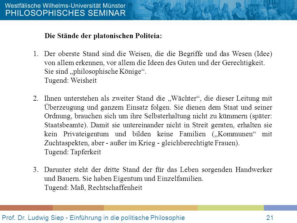 Prof. Dr. Ludwig Siep - Einführung in die politische Philosophie21 Die Stände der platonischen Politeia: 1.Der oberste Stand sind die Weisen, die die