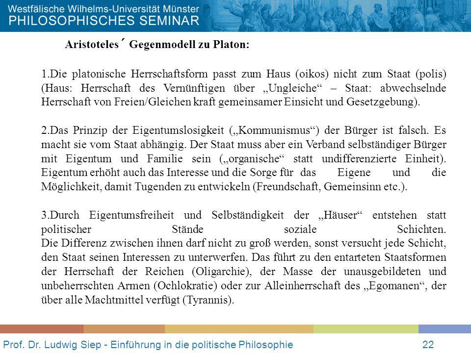 Prof. Dr. Ludwig Siep - Einführung in die politische Philosophie22 Aristoteles´ Gegenmodell zu Platon: 1.Die platonische Herrschaftsform passt zum Hau