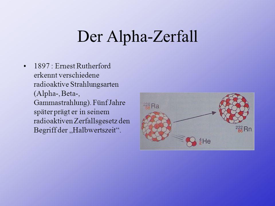 Der Alpha-Zerfall 1897 : Ernest Rutherford erkennt verschiedene radioaktive Strahlungsarten (Alpha-, Beta-, Gammastrahlung). Fünf Jahre später prägt e