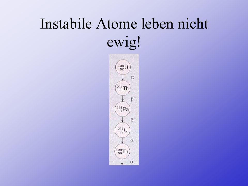 Instabile Atome leben nicht ewig!