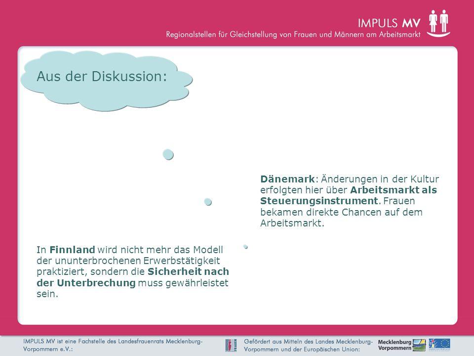 Aus der Diskussion: Dänemark: Änderungen in der Kultur erfolgten hier über Arbeitsmarkt als Steuerungsinstrument. Frauen bekamen direkte Chancen auf d