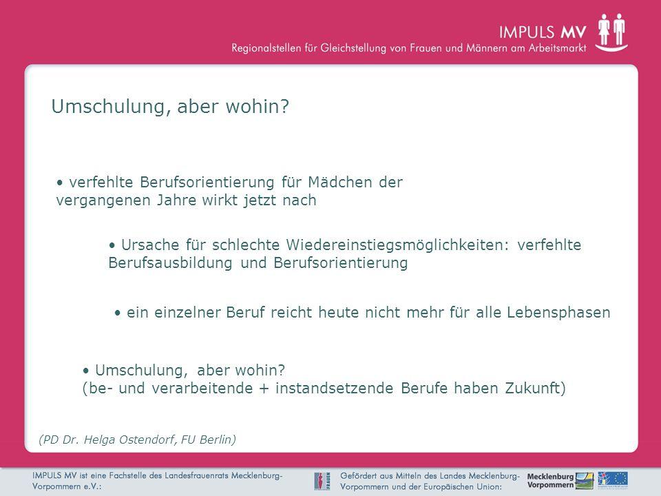 Umschulung, aber wohin? (PD Dr. Helga Ostendorf, FU Berlin) ein einzelner Beruf reicht heute nicht mehr für alle Lebensphasen Umschulung, aber wohin?