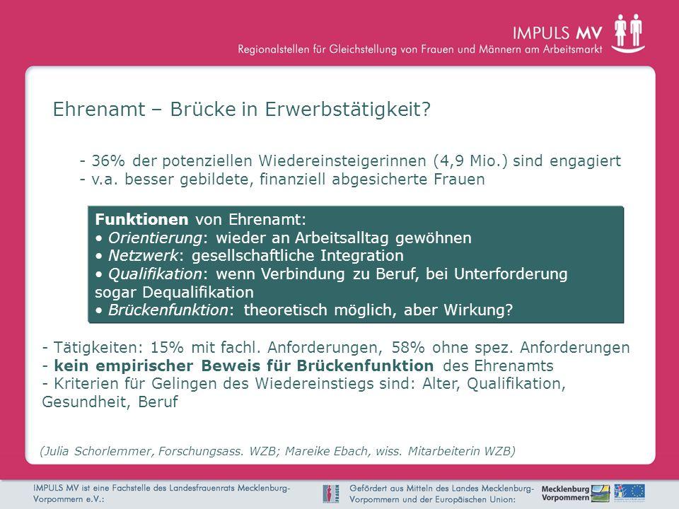 Ehrenamt – Brücke in Erwerbstätigkeit? (Julia Schorlemmer, Forschungsass. WZB; Mareike Ebach, wiss. Mitarbeiterin WZB) - Tätigkeiten: 15% mit fachl. A