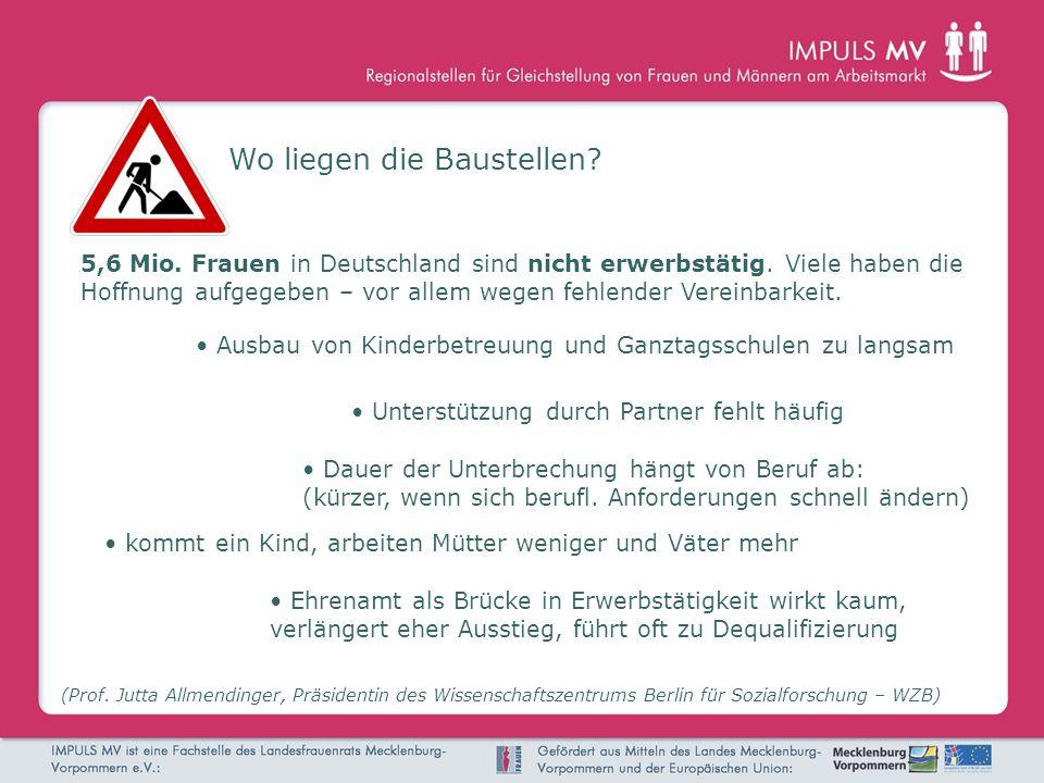 Wo liegen die Baustellen? (Prof. Jutta Allmendinger, Präsidentin des Wissenschaftszentrums Berlin für Sozialforschung – WZB) 5,6 Mio. Frauen in Deutsc