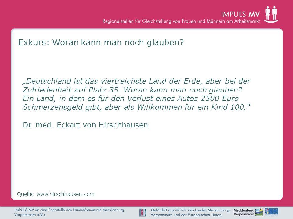 Exkurs: Woran kann man noch glauben? Quelle: www.hirschhausen.com Deutschland ist das viertreichste Land der Erde, aber bei der Zufriedenheit auf Plat