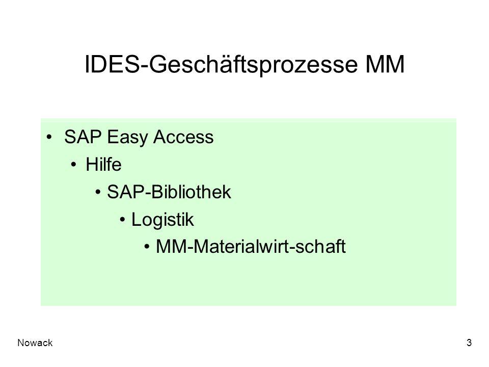 Nowack3 IDES-Geschäftsprozesse MM SAP Easy Access Hilfe SAP-Bibliothek Logistik MM-Materialwirt-schaft