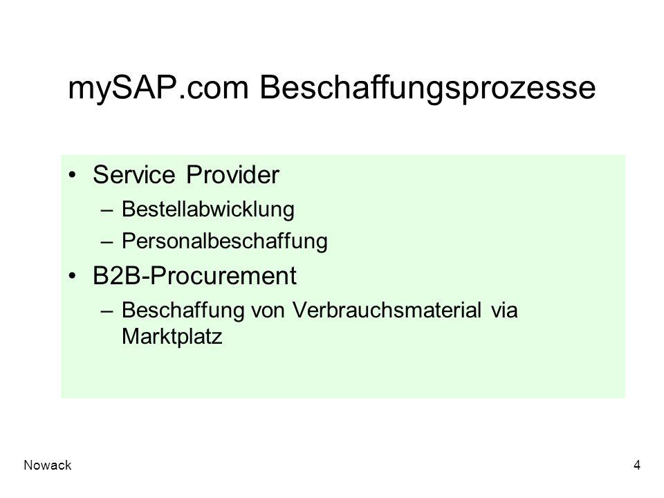 Nowack4 mySAP.com Beschaffungsprozesse Service Provider –Bestellabwicklung –Personalbeschaffung B2B-Procurement –Beschaffung von Verbrauchsmaterial vi