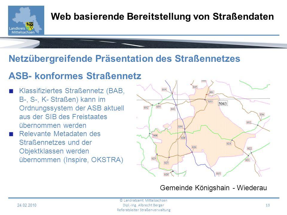 24.02.2010 14 Web basierende Bereitstellung von Straßendaten © Landratsamt Mittelsachsen Dipl.-Ing.