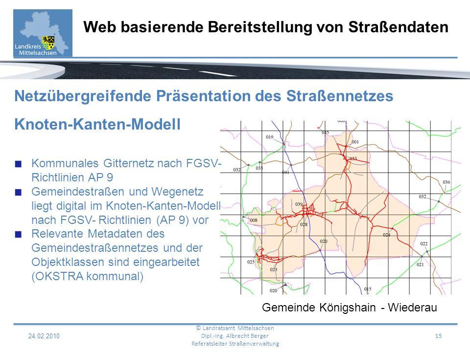 24.02.2010 16 Web basierende Bereitstellung von Straßendaten © Landratsamt Mittelsachsen Dipl.-Ing.