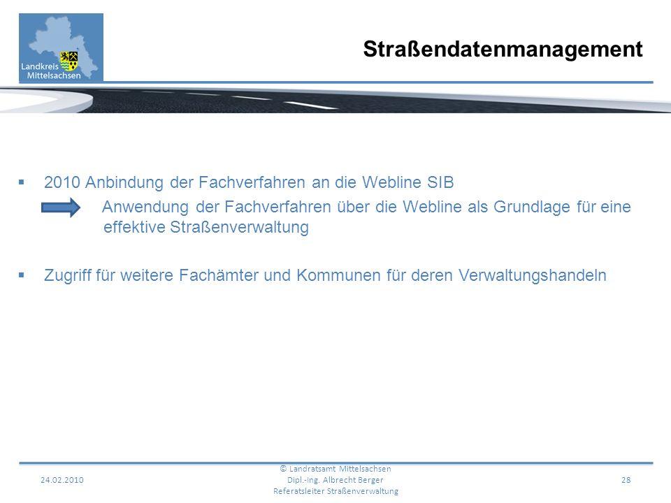 24.02.201028 2010 Anbindung der Fachverfahren an die Webline SIB Anwendung der Fachverfahren über die Webline als Grundlage für eine effektive Straßen