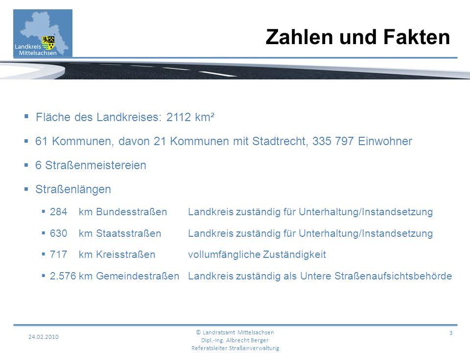 Zahlen und Fakten 24.02.2010 3 Fläche des Landkreises: 2112 km² 61 Kommunen, davon 21 Kommunen mit Stadtrecht, 335 797 Einwohner 6 Straßenmeistereien
