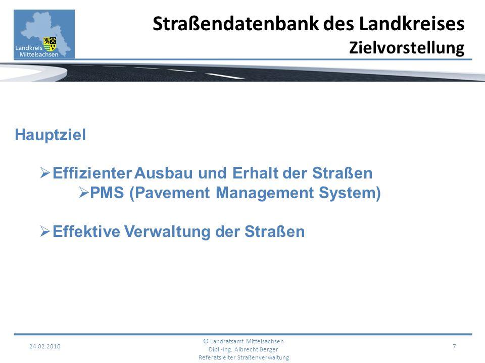 24.02.2010 8 Straßendatenbank des Landkreises Zielvorstellung © Landratsamt Mittelsachsen Dipl.-Ing.