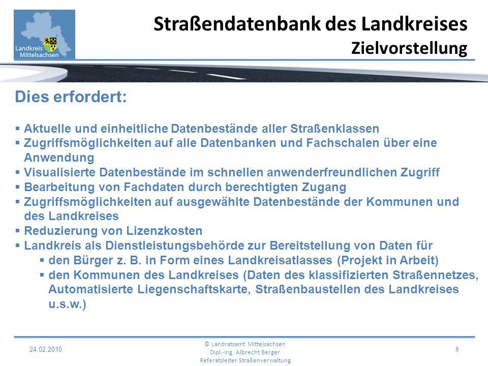 24.02.2010 9 Web basierende Bereitstellung von Straßendaten © Landratsamt Mittelsachsen Dipl.-Ing.