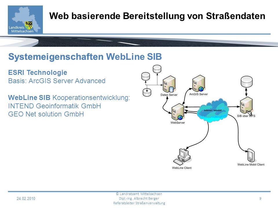 24.02.2010 10 Web basierende Bereitstellung von Straßendaten © Landratsamt Mittelsachsen Dipl.-Ing.
