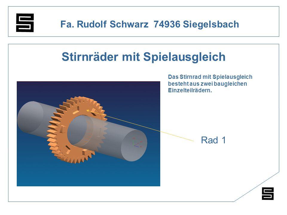 Fa. Rudolf Schwarz 74936 Siegelsbach Stirnräder mit Spielausgleich Das Stirnrad mit Spielausgleich besteht aus zwei baugleichen Einzelteilrädern. Rad