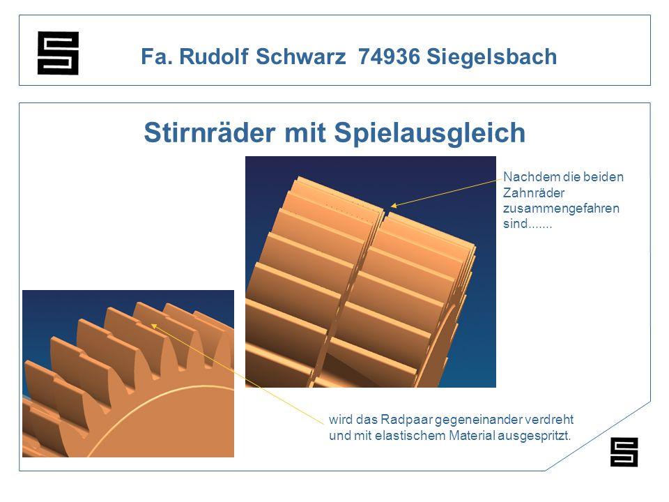 Fa. Rudolf Schwarz 74936 Siegelsbach Stirnräder mit Spielausgleich 1 : Nachdem die beiden Zahnräder zusammengefahren sind....... wird das Radpaar gege