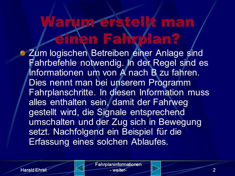 Harald Ehret Fahrplaninformationen - weiter-1 Warum und wie erstellt man einen Fahrplan? Kurze Einführung zum Thema Fahrplan in unserem Programm Model