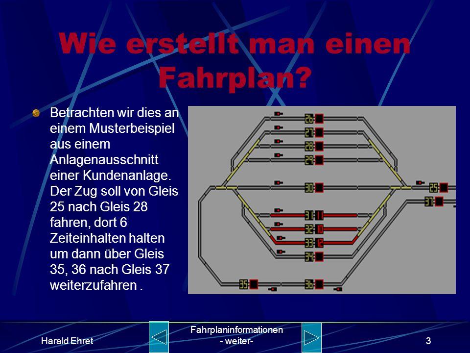 Harald Ehret Fahrplaninformationen - weiter-2 Warum erstellt man einen Fahrplan? Zum logischen Betreiben einer Anlage sind Fahrbefehle notwendig. In d