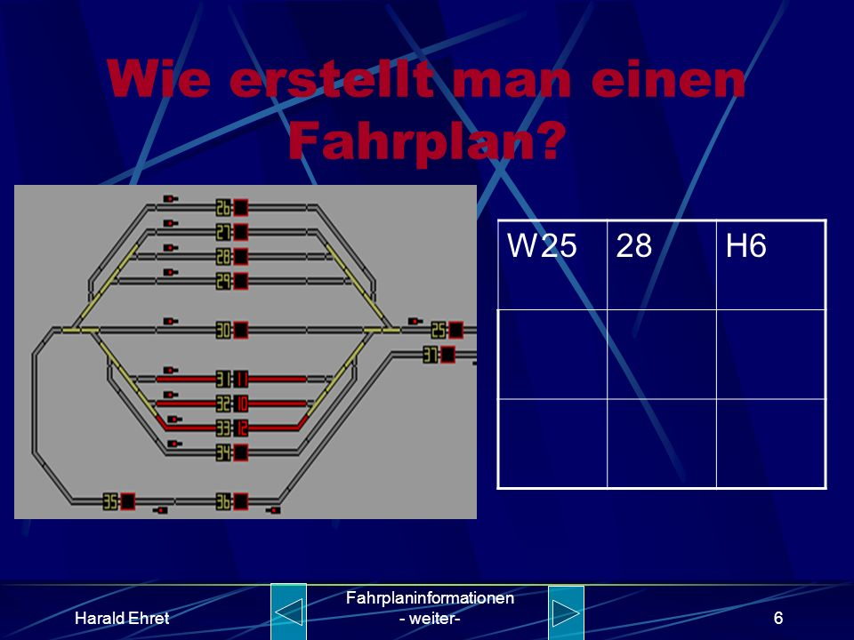 Harald Ehret Fahrplaninformationen - weiter-5 Wie erstellt man einen Fahrplan? W2528