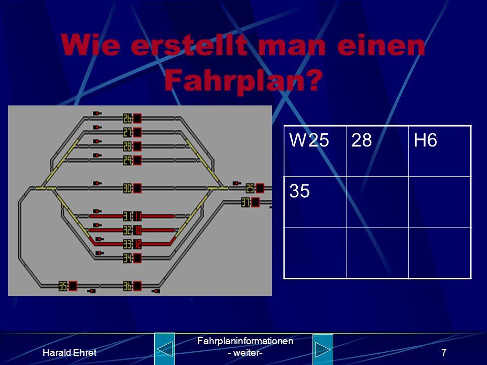 Harald Ehret Fahrplaninformationen - weiter-6 Wie erstellt man einen Fahrplan? W2528H6