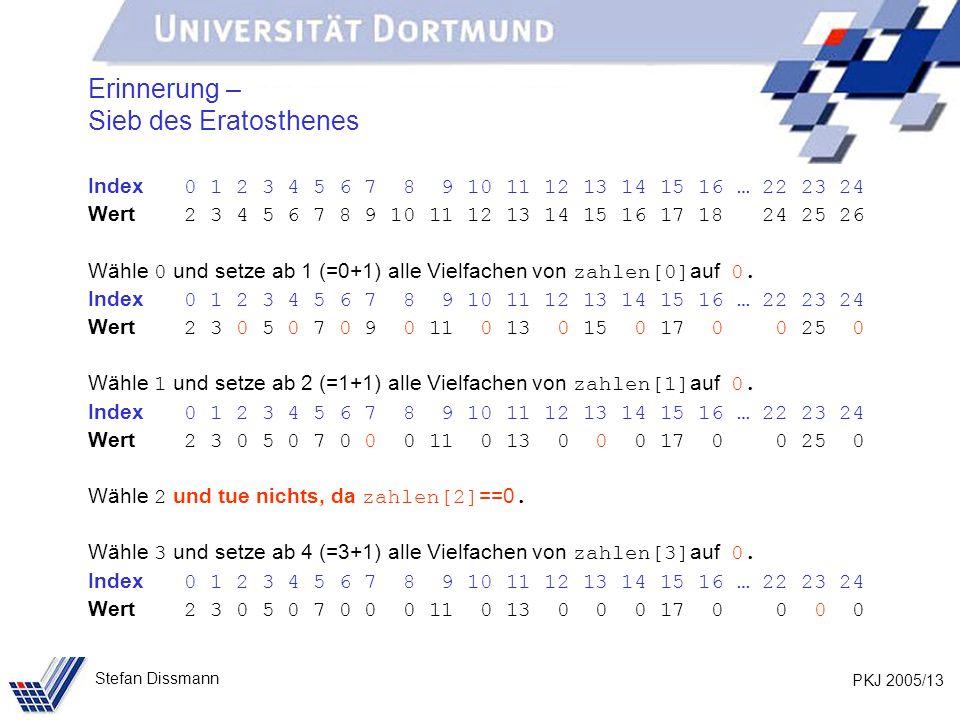 PKJ 2005/13 Stefan Dissmann Erinnerung – Sieb des Eratosthenes Index 0 1 2 3 4 5 6 7 8 9 10 11 12 13 14 15 16 … 22 23 24 Wert 2 3 4 5 6 7 8 9 10 11 12